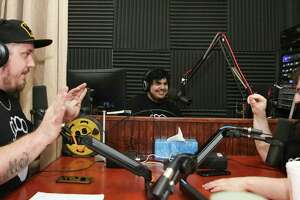 Nerd Thug Radio members Joey Kay, from left, Nico De la Guardia and Cory De la Guardia as the group records its 51st episode at Lone Star Community Radio Thursday, March 30, 2017, in Conroe. ( Yi-Chin Lee / Houston Chronicle )