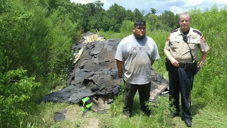 The Montgomery County Sheriff's Office responded to an illegal dumping case in the Porter area on July 13, 2017. One suspect was arrested and a second is at large. Photo: Montgomery County Sheriff's Office