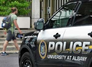 A University at Albany police car on campus Tuesday July 11, 2017 in Albany, NY.  (John Carl D'Annibale / Times Union)