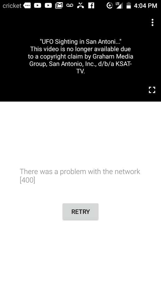 "Benny Quiroz shared a screengrab with mySA.com showing a YouTube notification explaining a ""copyright claim by Graham Media Group"", KSAT's parent company,"" prompted the video's removal. Photo: Provided By Benny Quiroz"