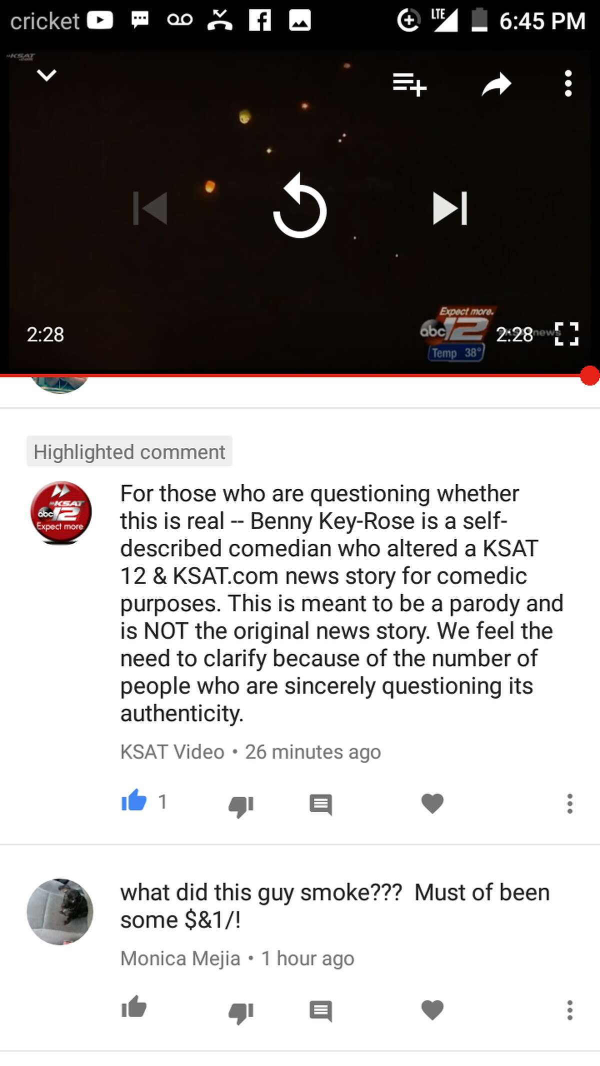 Benny Quiroz shared a screengrab with mySA.com of YouTube notification showing KSAT's response to his parody video which clarifies it was