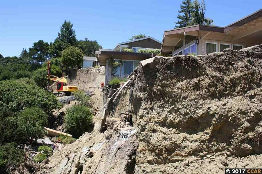 A home at 21 Chapel Dr. in Lafayette, Calif., was red-tagged — declared too dangerous to inhabit by the city — after a landslide in February 2017. The property is now on the market for $850,000 and offers an opportunity for a homebuyer seeking a project. Photo: Valerie Crowell / Keller Williams Realty