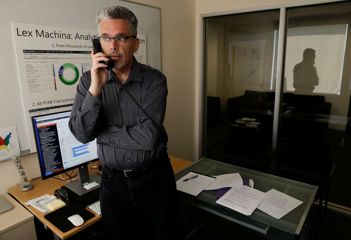 Owen Byrd, the chief evangelist and general counsel of the company, during a conference call at the offices of Lex Machina in Menlo Park, Ca., on Friday July 14, 2017.