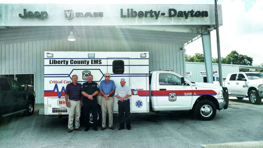 The Liberty County EMS has purchased a new truck from Liberty-Dayton Chrysler to help better serve the county. According to Cameron Graham at the dealership, the ambulance was remounted and upgraded with state-of-the-art equipment. In addition to new heart monitoring equipment, the chassis was equipped with a new hydraulic suspension system to offer a better and more comfortable, controlled ride for their patients. From left are David Leonard, Kelvin Burks, Bill Brackin and Mike Koen. Photo: David Taylor