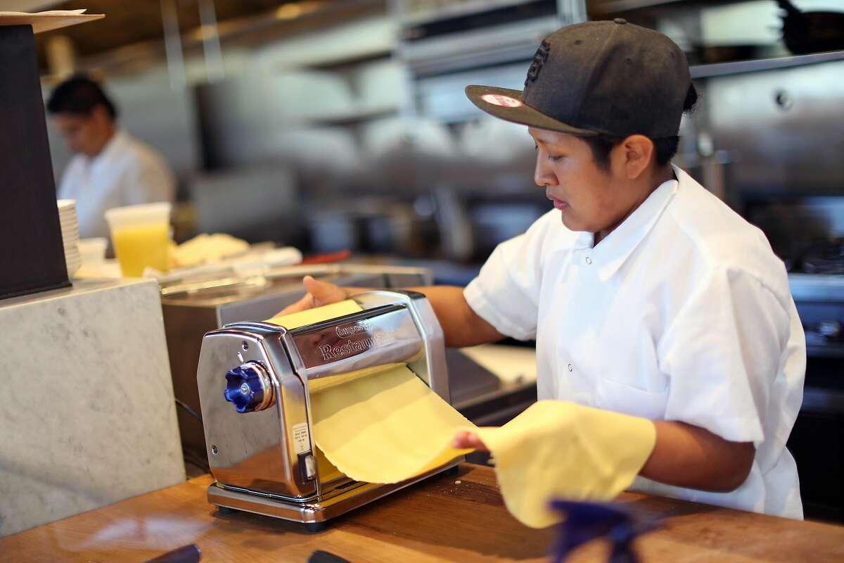 Lydia Juarez makes agnoiotti pasta at a Mano on Hayes Street in San Francisco, Calif.on Thursday, July 6, 2017.