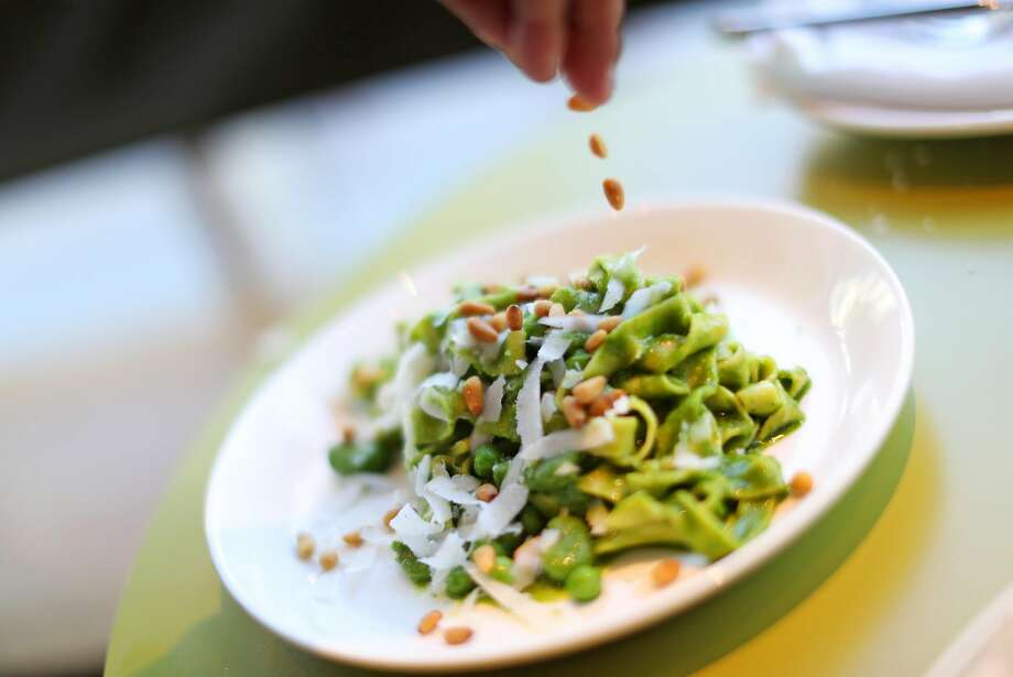 Tagliatelle with pesto and peas at a Mano on Hayes Street in San Francisco, Calif.on Thursday, July 6, 2017. Photo: Scott Strazzante, The Chronicle