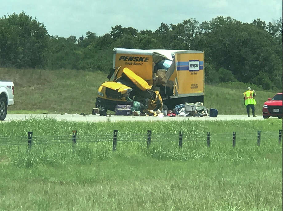 Officials closed the westbound lanes of Interstate 10 Friday afternoon, July 14, 2017, near Luling, after multiple wrecks throughout the day led to two deaths and one person hospitalized. Photo: Courtesy Ruben Garcia