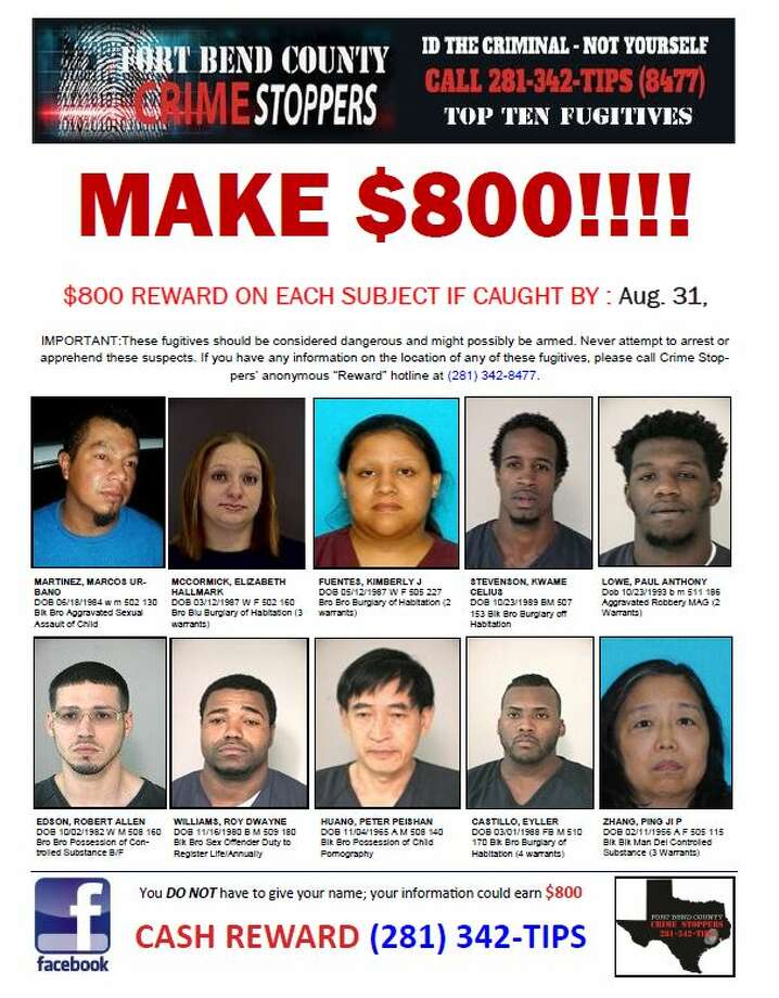 Fort Bend County's Sheriff's Office has released its most wanted list. Tips leading to their capture by the end of August may result in a reward of $800. Photo: Fort Bend County Sheriff's Office