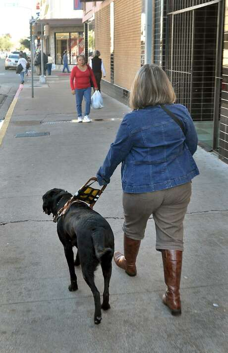 """Kassandra """"KC"""" Luna, who is blind and her seeing eye dog """"Zoogi"""" walk along Farragut Street in downtown Laredo in 2010. Luna, a college student was trying to raise awareness about how people should deal with people who are blind and their seeing eye dogs. In fact, there are number of tips on how to deal with people who are blind. Photo: CUATE SANTOS / / LAREDO MORNING TIMES"""