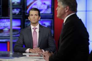 The Trump camp's claim that there was no collussion between Russian and the campaign is now officially dead with Donald Trump Jr.'s release of emails that show precisely that intent. Here Trump Jr., left, is interviewed by host Sean Hannity on his Fox News Channel television program, in New York on Tuesday.