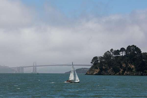 A sail boat sails past Belvedere Cove in Tiburn, Calif. Friday, July 14, 2017.