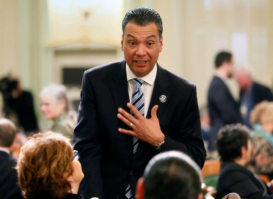 California Secretary of State Alex Padilla talks with Electoral College voters before vote in Sacramento, Calif., on December 19, 2016. Photo: Scott Strazzante, The Chronicle