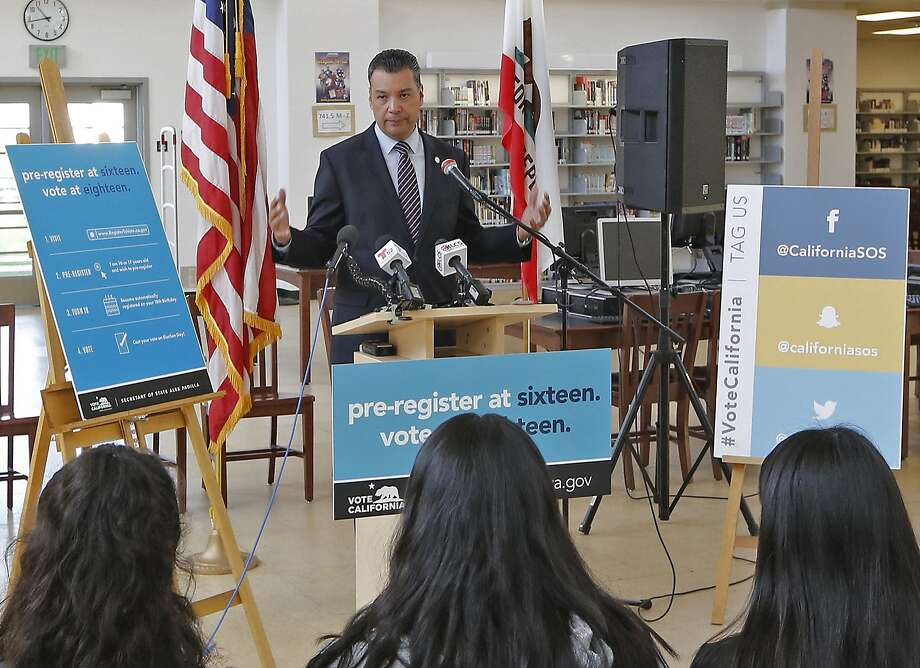 California Secretary of State Alex Padilla speaks during the launch of the online voting pre-registra tion for 16- and 17-year-olds, one of several of his efforts to make it easier for Californians to vote. Photo: Damian Dovarganes, Associated Press