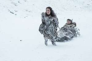 "Ellie Kendrick, Isaac Hempstead Wright in a scene from season 7 of ""Game of Thrones."""