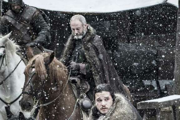 "Davos Seaworth (Liam Cunningham, background) and Jon Snow (Kit Harington) have been kept extremely busy in Season 7 of ""Game of Thrones."""