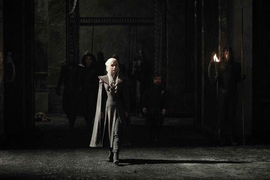 "Nathalie Emmanuel, Emilia Clarke, Peter Dinklage in a scene from Season 7 of ""Game of Thrones."" Photo: Helen Sloan/courtesy Of HBO"