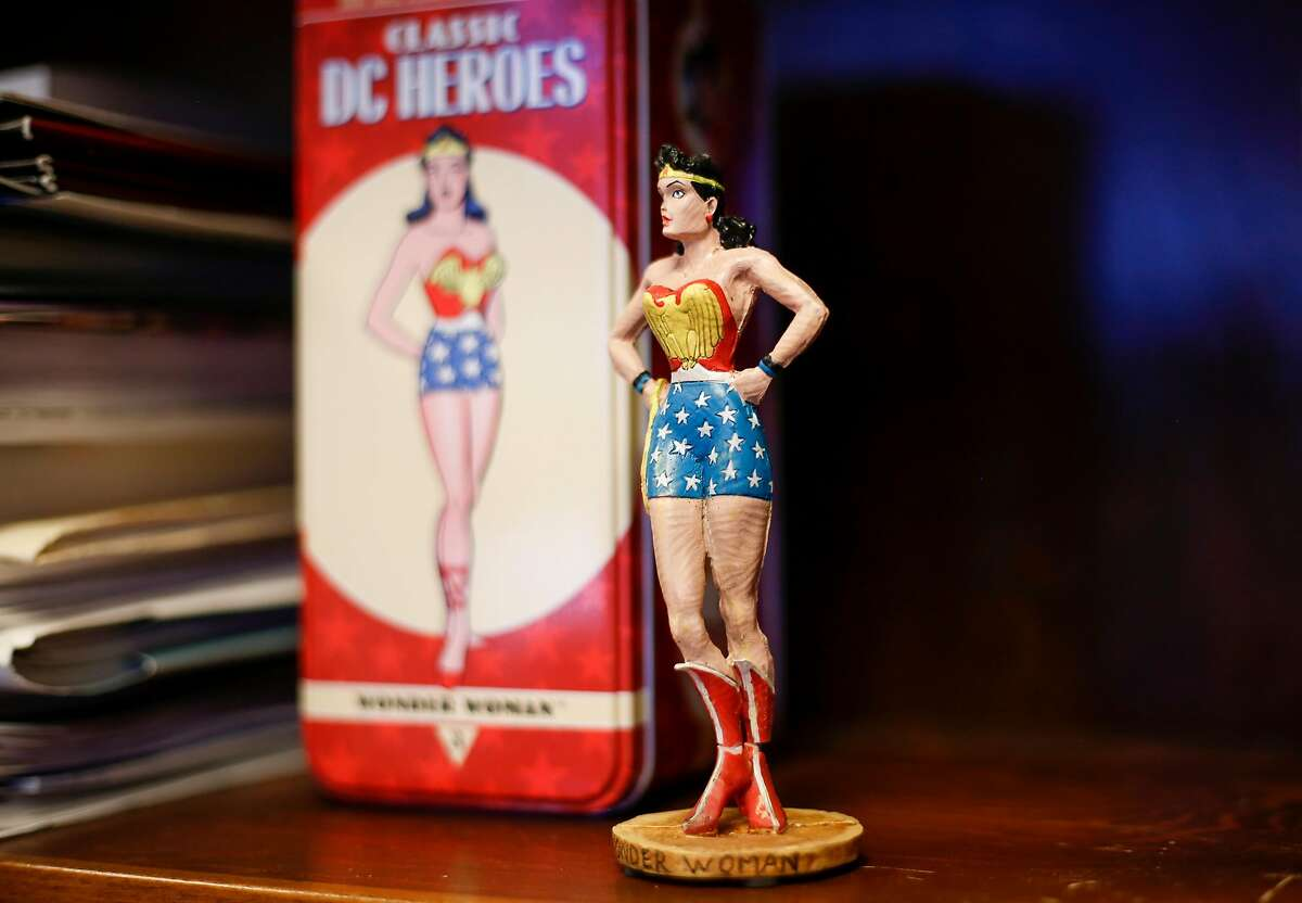 A figurine of Wonder Woman sits on the shelf in Dr. Claire Brindis' office at UCSF Laurel Heights campus in San Francisco on Friday, June 30, 2017.