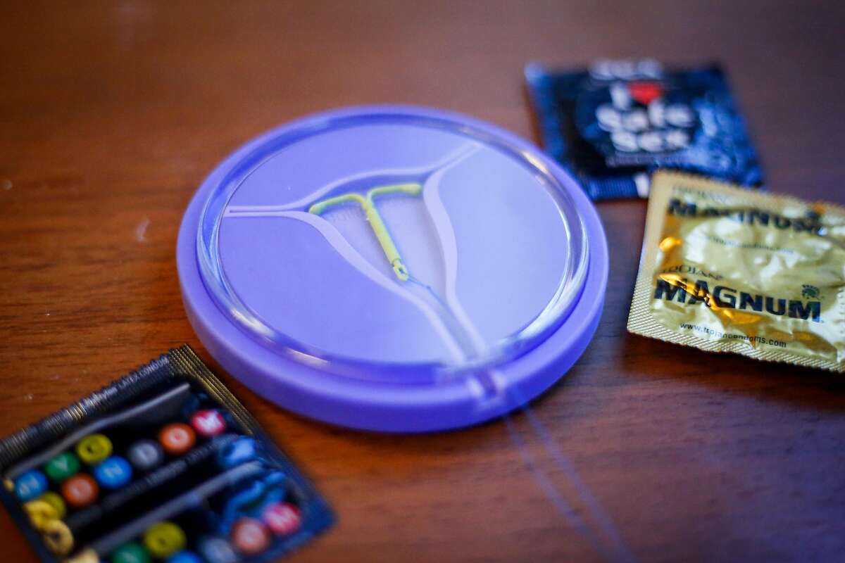 Forms of contraceptive sit on Dr. Claire Brindis' desk in her office at UCSF Laurel Heights campus in San Francisco on Friday, June 30, 2017.