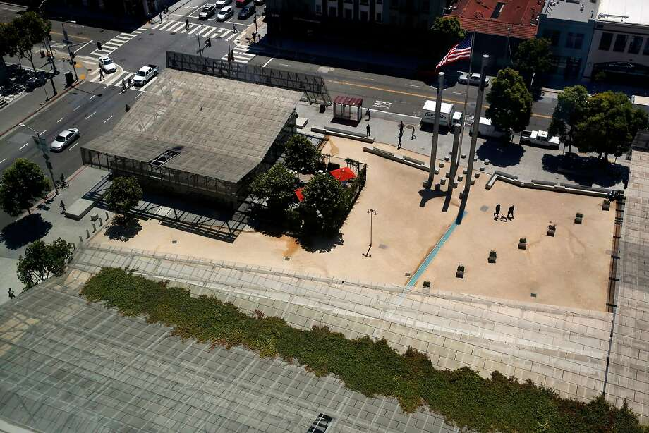 An aerial view shows part of the Federal Building, including the corner cafe and plaza, a space that has not met expectations. Photo: Leah Millis, The Chronicle