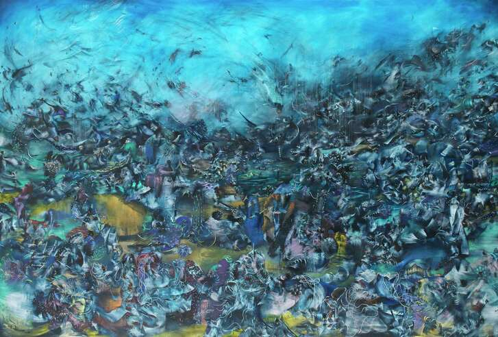 """Ali Banisadr has said his paintings are inspired by the sound of explosions. His 2012 oil painting """"We Haven't Landed on Earth Yet"""" is among the works on view in """"Rebel Jester Mystic Poet"""" at the MFAH through Sept. 24."""
