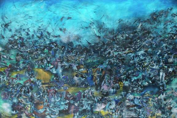 "Ali Banisadr has said his paintings are inspired by the sound of explosions. His 2012 oil painting ""We Haven't Landed on Earth Yet"" is among the works on view in ""Rebel Jester Mystic Poet"" at the MFAH through Sept. 24."