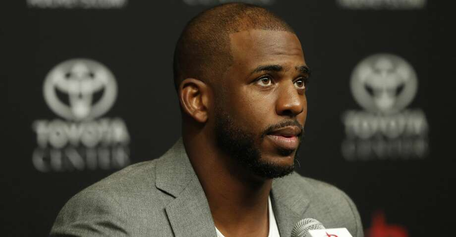 Chris Paul speaks to the media before being introduced to Houston Rockets fans at the Toyota Center, Friday, July, 14, 2017. ( Karen Warren / Houston Chronicle ) Photo: Karen Warren/Houston Chronicle