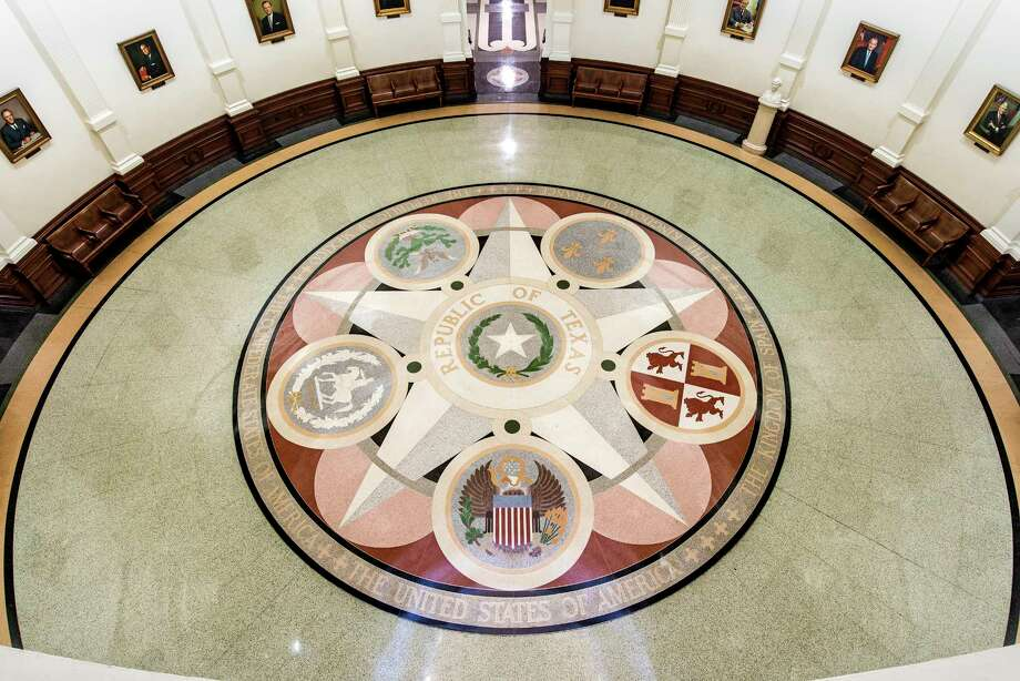 The interior of the Capitol in Austin shows the six nations (six flags) that governed Texas. (Courtesy Texas State Preservation board.) Photo: Courtesy Texas State Preservation Board.