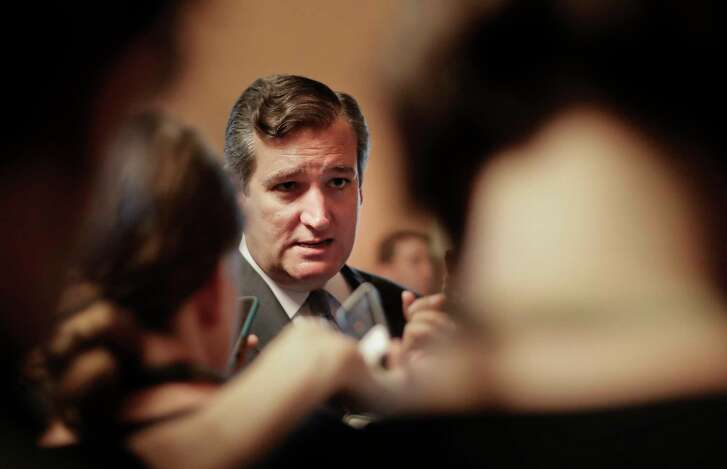 Sen. Ted Cruz, R-Texas speaks to members of the media on Capitol Hill in Washington Thursday. Senate Majority Leader Mitch McConnell of Kentucky rolled out the GOP's revised health care bill, pushing toward a showdown vote next week with opposition within the Republican ranks. (AP Photo/Pablo Martinez Monsivais)