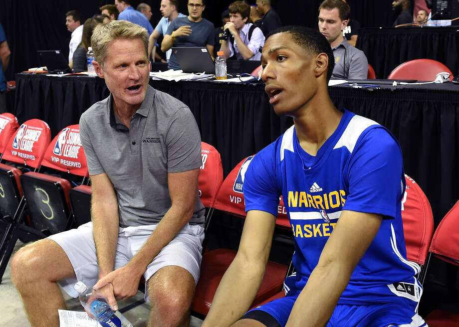 LAS VEGAS, NV - JULY 12:  Head coach Steve Kerr (L) of the Golden State Warriors talks with Patrick McCaw #0 of the Warriors after the team defeated the Minnesota Timberwolves 77-69 during the 2017 Summer League at the Thomas & Mack Center on July 12, 2017 in Las Vegas, Nevada. NOTE TO USER: User expressly acknowledges and agrees that, by downloading and or using this photograph, User is consenting to the terms and conditions of the Getty Images License Agreement.  (Photo by Ethan Miller/Getty Images) Photo: Ethan Miller, Getty Images