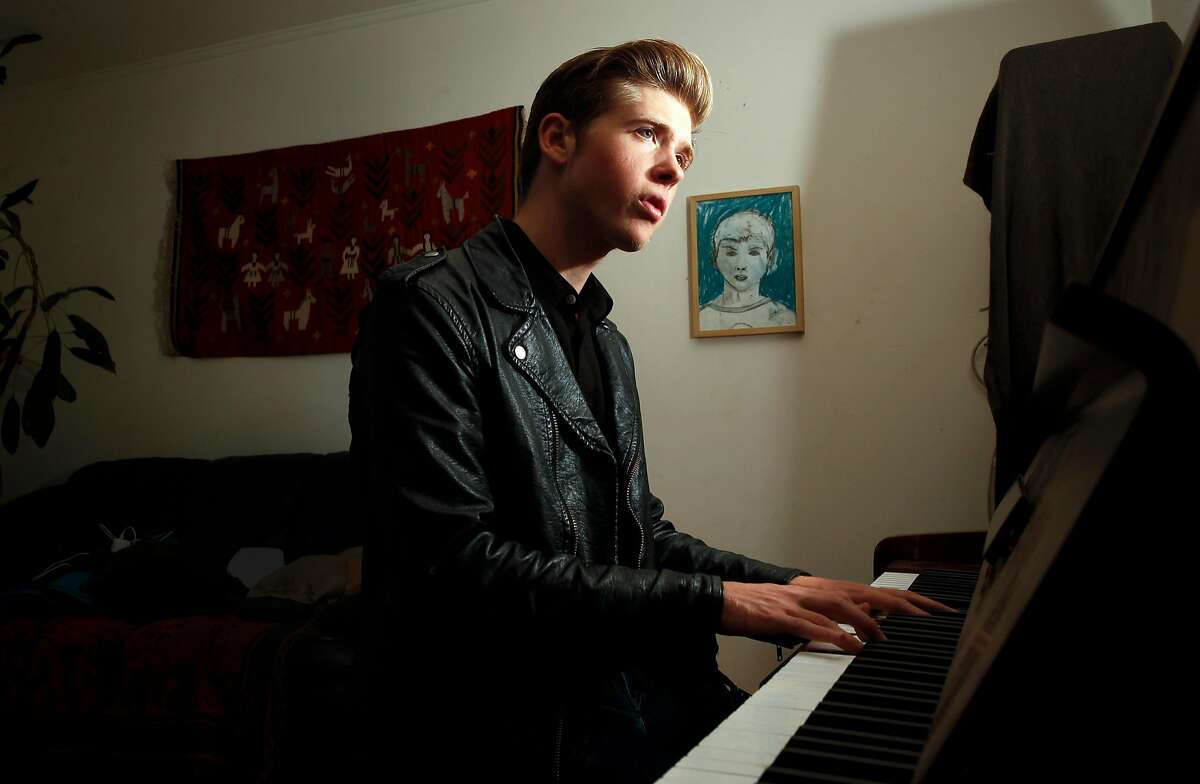 18-year-old, singer songwriter Joshua Tazman at his home in San Francisco.