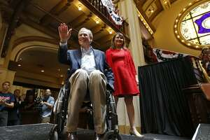 Texas Gov. Greg Abbott and his wife Cecilia Abbott arrive for an event to announce his bid for re-election July 14 at Sunset Station. He's running to thwart liberals.