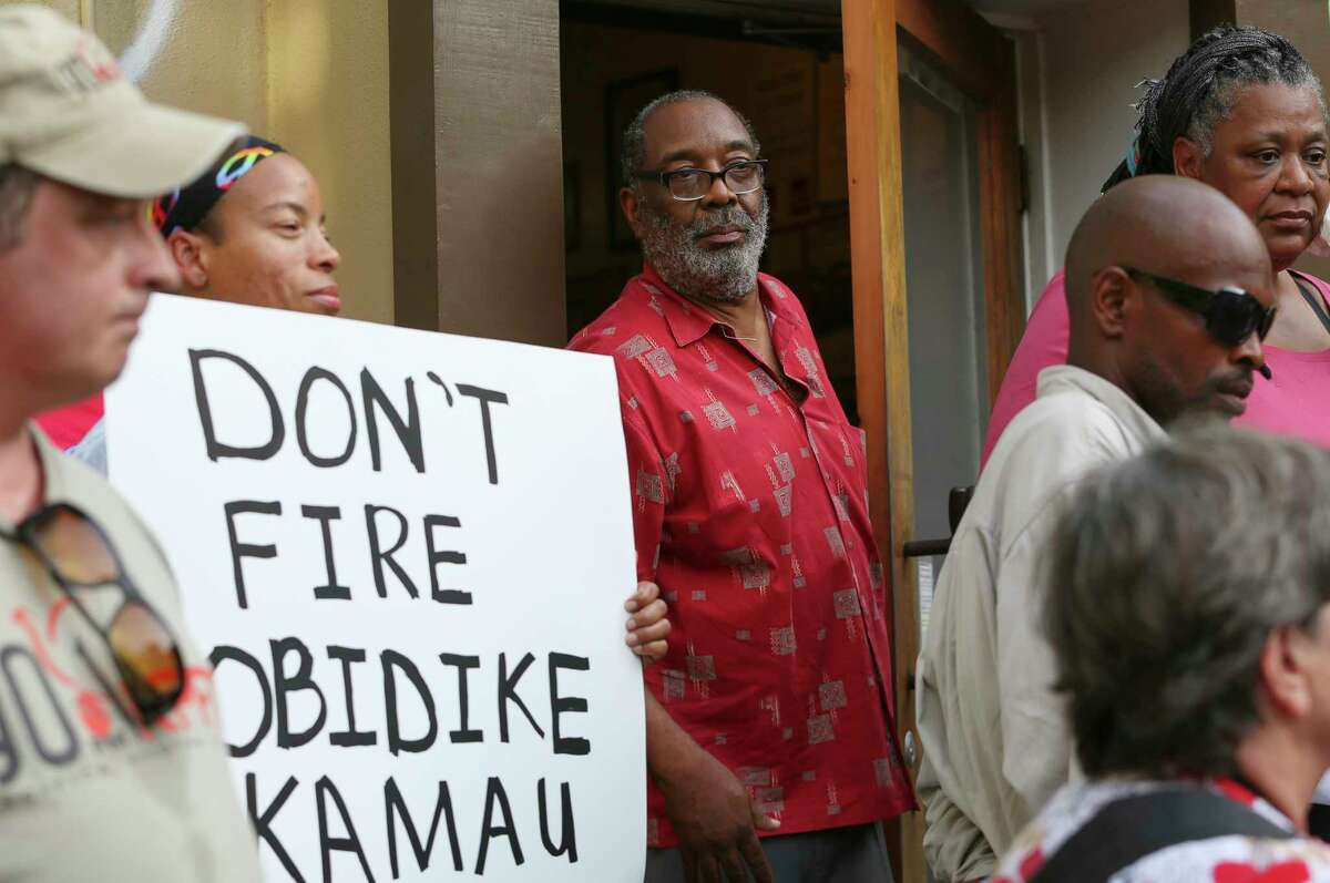 KPFT Radio Station former interim general manager Dr. Obidike Kamau makes his appearance at the protest against the firing of him outside of the radio station Friday, July 14, 2017, in Houston. Kamau was given 90 days to turn the financially troubled station around but was fired suddenly on Friday before his 90-day mark.