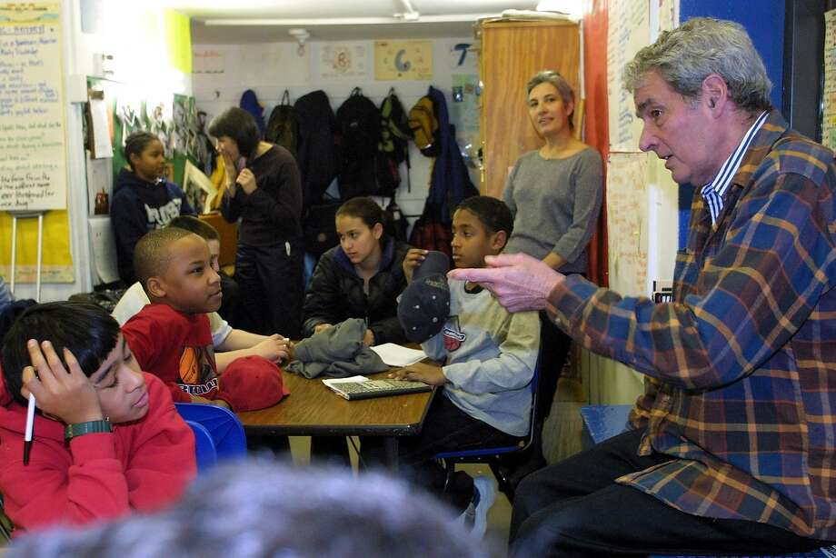 Gus Trowbridge, who founded Manhattan Country School and insisted on broad racial diversity in the student body, speaks to sixth-graders in 2002. Photo: RUBY WASHINGTON, NYT