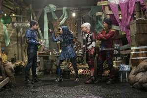 "From left: Mitchell Hope, Sofia Carson, Cameron Boyce and Booboo Stewart are part of a stellar cast in ""Descendants 2."""