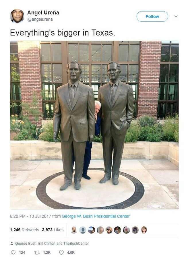 Angel Ureña @angelurena    Everything's bigger in Texas. – at George W. Bush Presidential Center Photo: Twitter