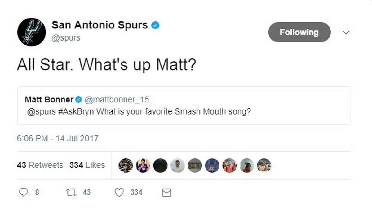 All Star. What's up Matt? #AskBryn What is your favorite Smash Mouth song?