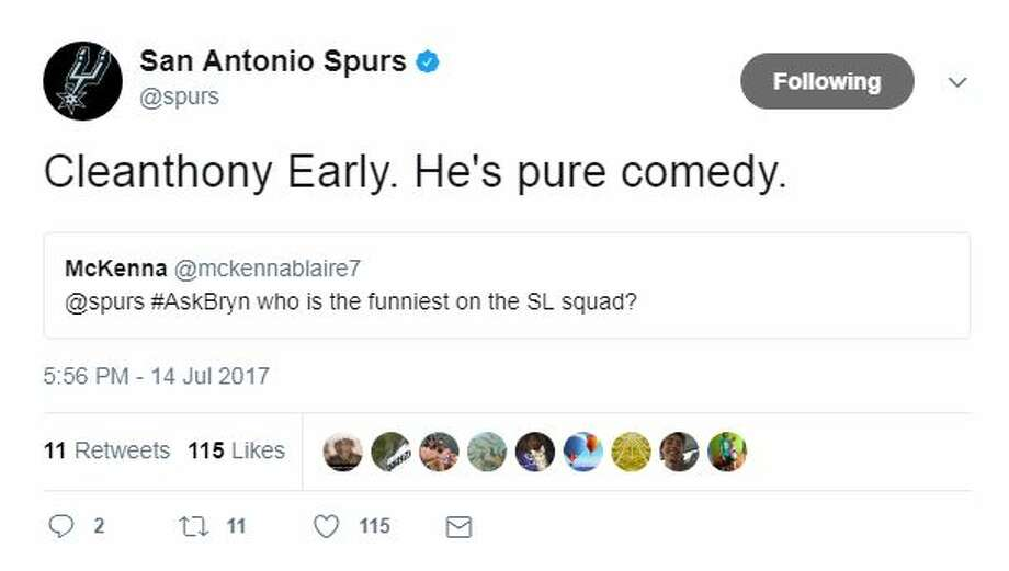 Cleanthony Early. He's pure comedy.@spurs #AskBryn who is the funniest on the SL squad? Photo: Twitter