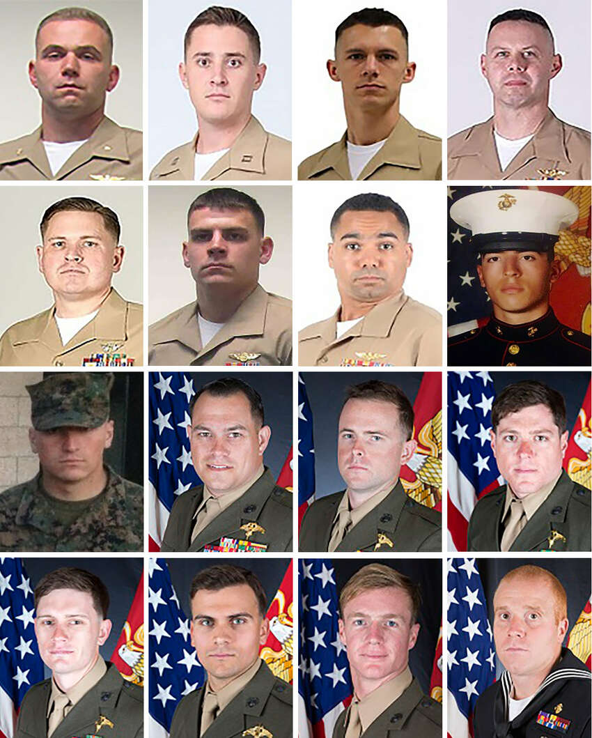 In a series of photos provided by the U.S. Marine Corps: the 15 Marines and one Navy corpsman who were killed in the crash of a KC-130 in Leflore County, Miss., on July 10, 2017. From left to right. Row one: Maj. Caine M. Goyette; Capt. Sean E. Elliott; Gunnery Sgt. Mark A. Hopkins; Gunnery Sgt. Brendan C. Johnson. Second row: SSgt. Joshua M. Snowden; Sgt. Owen J. Lennon; Sgt. Julian M. Kevianne; Cpl. Daniel L. Baldassare. Third row: Cpl. Collin J. Schaaff; SSgt. William J. Kundrat; SSgt. Robert H. Cox; Sgt. Talon R. Leach. Fourth row: Sgt. Chad E. Jenson; Sgt. Joseph J. Murray; Sgt. Dietrich A. Schmieman; Hospital Corpsman 2nd Class Ryan Lohrey. (U.S. Marine Corps via The New York Times) -- FOR EDITORIAL USE ONLY. -- ORG XMIT: XNYT13