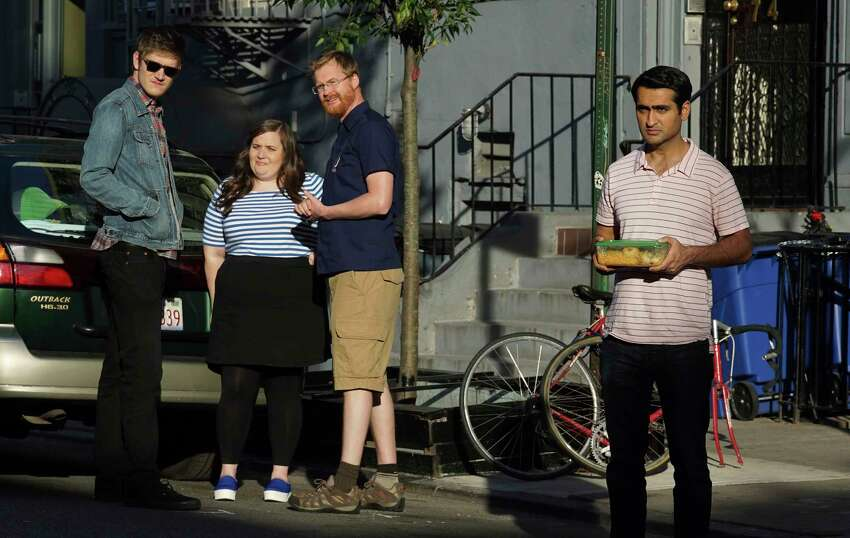 This image released by Lionsgate shows, from left, Bo Burnham, Aidy Bryant, Kurt Braunohler and Kumail Nanjiani in a scene from,