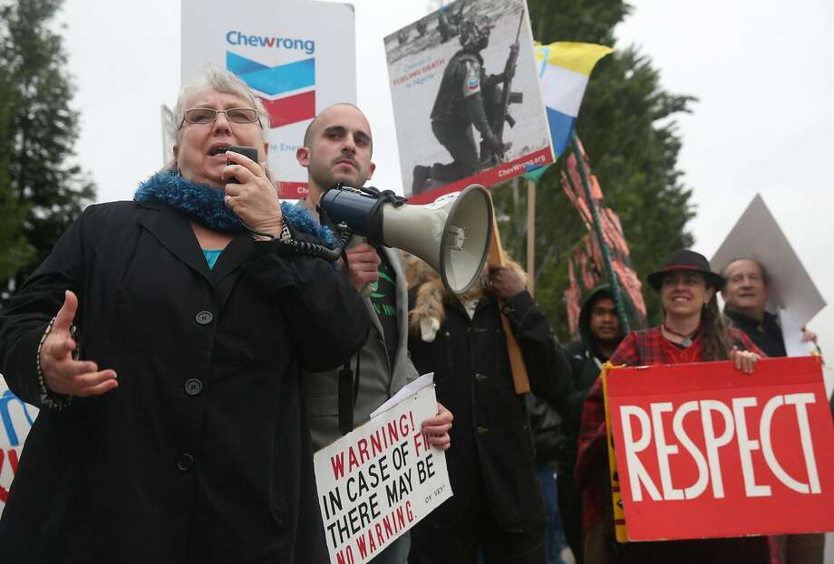 Richmond City Councilwoman, who will run for lieutenant governor, protests with environmental groups in 2015 outside Chevron headquarters during the annual shareholder meeting in San Ramon. Photo: Paul Chinn, The Chronicle