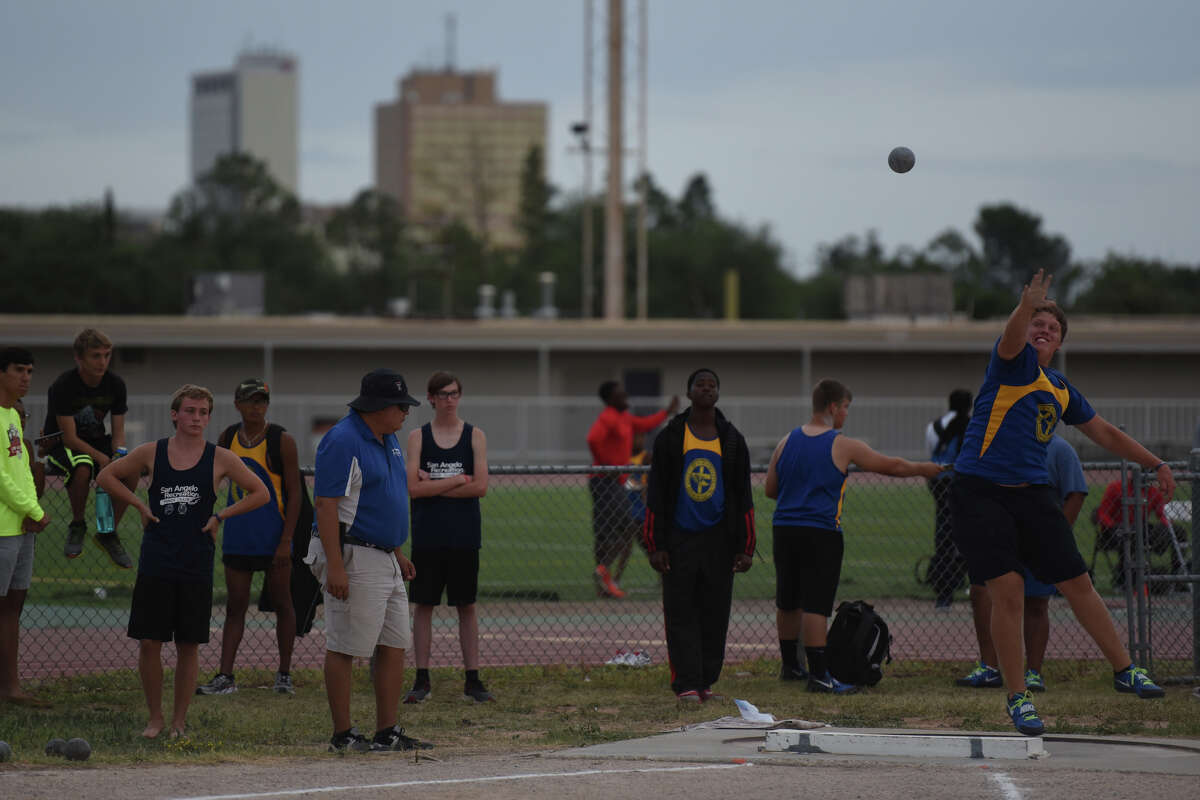 Shot put contestants compete in the Texas Amateur Athletic Federation Region 10 track and field meet on July 4, 2017, at Memorial Stadium. James Durbin/Reporter-Telegram