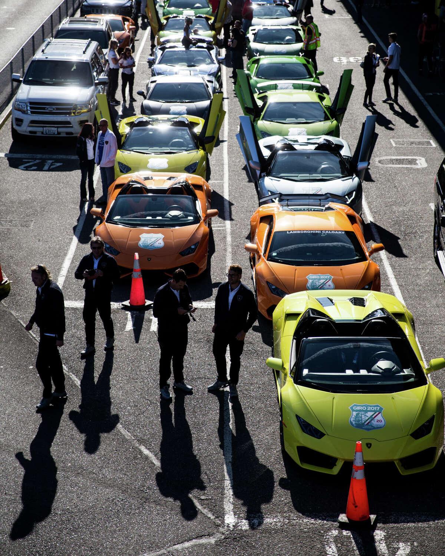 Two dozen Lamborghinis and their owners await a ferry to Bainbridge Island.