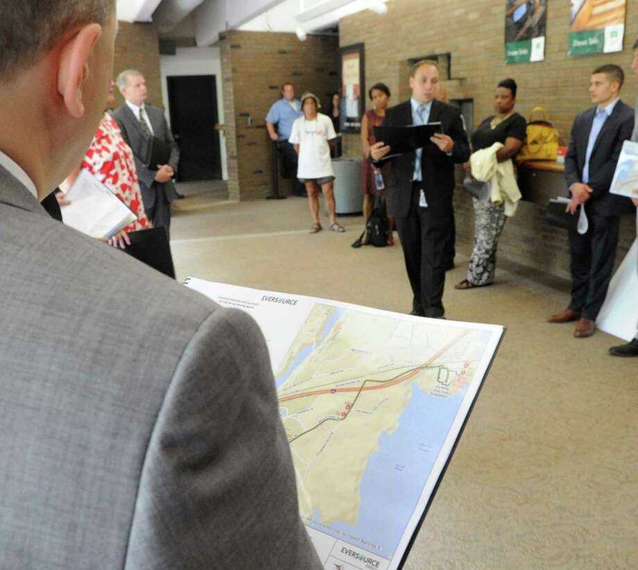 The start of the Connecticut Siting Council tour at Greenwich Library in Greenwich, Conn., Thursday, July 13, 2017. The siting council was in town to check out proposed routes for a new substation linked from Railroad Avenue to Cos Cob. Photo: Bob Luckey Jr. / Hearst Connecticut Media / Greenwich Time