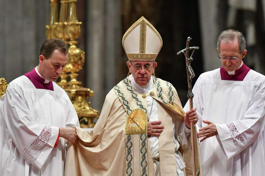 Pope Francis leads a consistory for the creation of five new cardinals on June 28, 2017 at St Peter's basilica in Vatican. Four of the five new 'Princes of the Church' come from countries that have never had a cardinal before: El Salvador, Laos, Mali and Sweden. The fifth is from Spain.  / AFP PHOTO / Alberto PIZZOLIALBERTO PIZZOLI/AFP/Getty Images Photo: ALBERTO PIZZOLI, Contributor / AFP or licensors