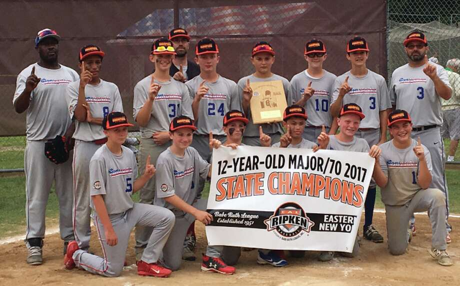 The Spring Renegades won the Cal Ripken 12-year-old Eastern New York 2017 State Championship. It is the third year in a row this team has won the state title. Team members are, from left, front row: Timmy Neeson, Aidan Heffner, Eddie Girtler, Davin Tuckey, Alex Yash, Bobby Facto. Back row: Coach Kalven Jenkins, Kenile Jenkins, Michael Kennedy, Coach Sean Tuckey, Austin Francis, Eddie Yamin, Matt Hall, Andrew Dongelewic and Coach Scott Dongelewic.