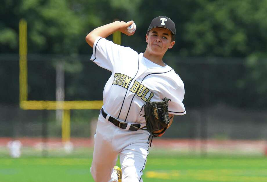 Justin Delanney (20) of Trumbull delviers a pitch during the Babe Ruth 13 year old State Championship Game against Norwalk at Brien McMahon High School on July 15, 2017 in Norwalk, Connecticut. Photo: Gregory Vasil / For Hearst Connecticut Media / Connecticut Post Freelance
