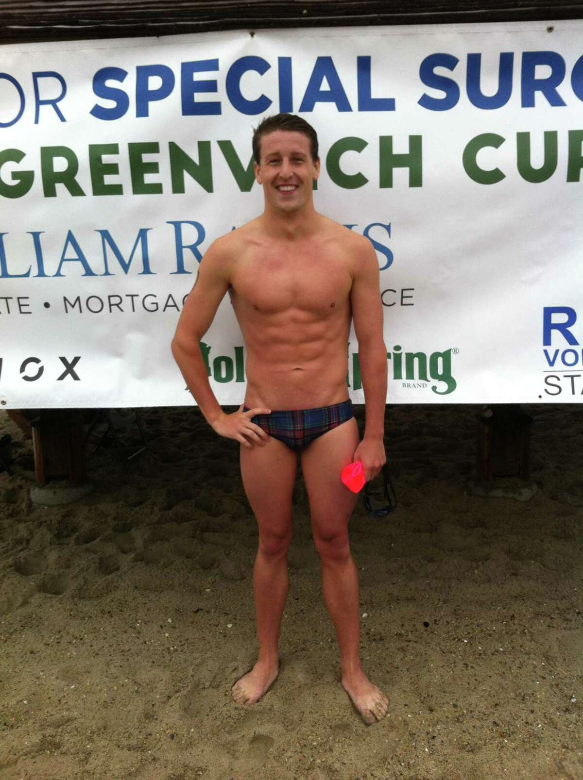Steve Sholdra was the overall winner at the Greenwich Point One-Mile Swim Saturday at Greenwich Point.