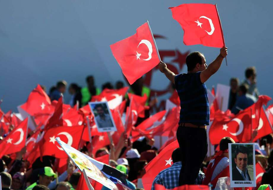 A national unity march in Istanbul commemorated the one-year anniversary of the July 15, 2016, botched coup attempt against President Recep Tayyip Erdogan. Photo: Lefteris Pitarakis, STF / Copyright 2017 The Associated Press. All rights reserved.