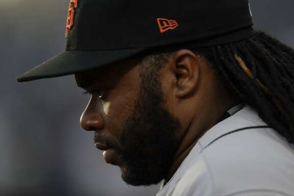 San Francisco Giants starting pitcher Johnny Cueto before a baseball game against the San Diego Padres Friday, July 14, 2017, in San Diego. (AP Photo/Gregory Bull)