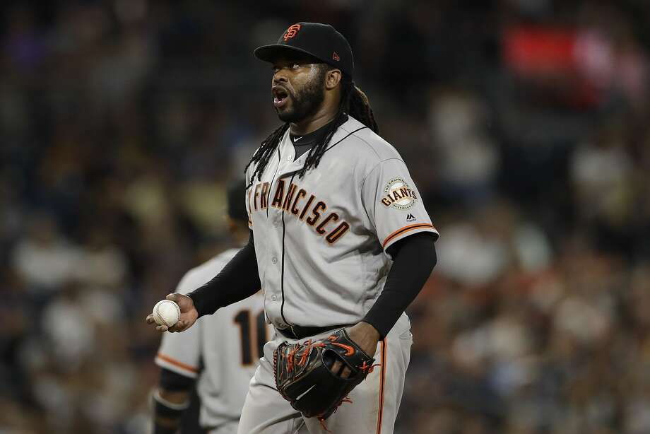 San Francisco Giants starting pitcher Johnny Cueto reacts during the fourth inning of a baseball game against the San Diego Padres Friday, July 14, 2017, in San Diego. (AP Photo/Gregory Bull) Photo: Gregory Bull, Associated Press